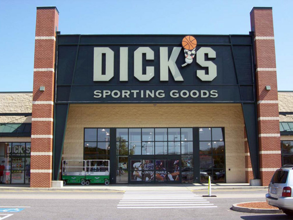 Store front of DICK'S Sporting Goods store in Dedham, MA